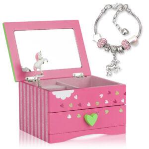 Pink unicorn jewelry box with unicorn charm bracelet