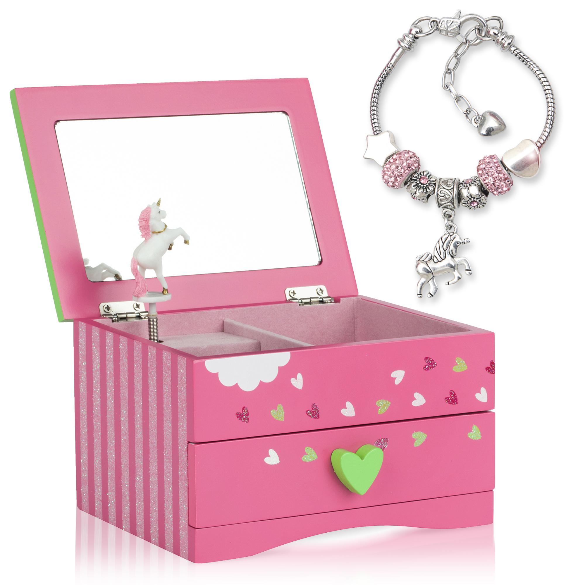 Unicorn Musical Jewelry Box - Fuchsia and Green with Unicorn Charm Bracelet