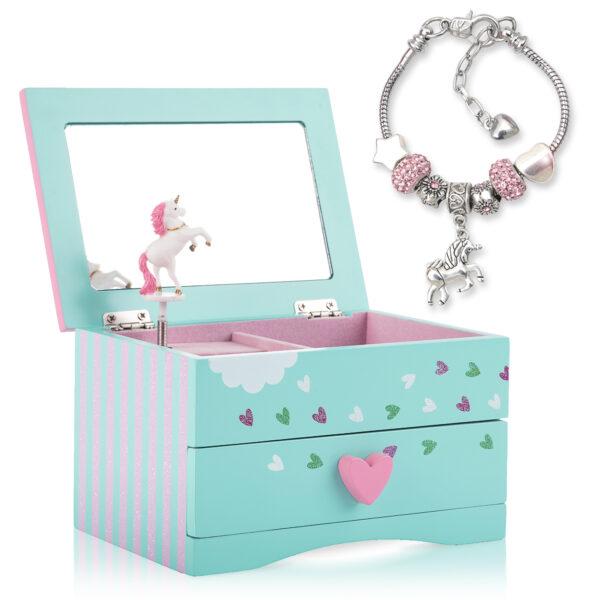 Unicorn Jewelry Box with unicorn charm bracelet