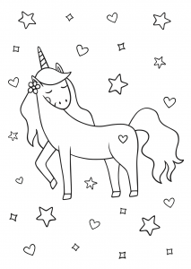 Free unicorn coloring printables_06